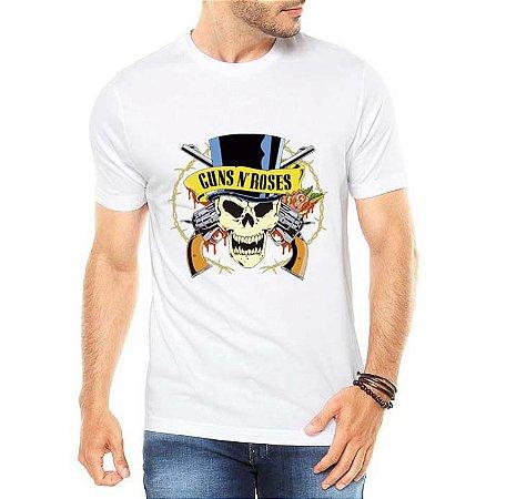 Camiseta Masculina Banda de Rock Guns N' Roses Caveira - Personalizadas/ Customizadas/ Estampadas/ Camiseteria/ Estamparia/ Estampar/ Personalizar/ Customizar/ Criar/ Camisa Blusas Baratas Modelos Legais Loja Online
