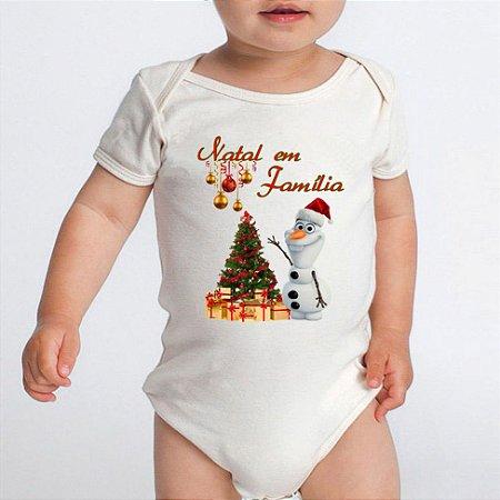 Body Bebe Frases Engraçadas Natal em Família Olaf Branco Manga Curta - Roupinhas Macacão Infantil Bodies Roupa Manga Curta Menino Menina Personalizados