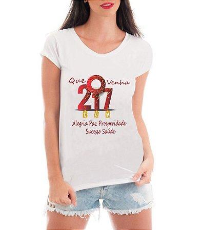 Camiseta Feminina Blusa Ano Novo 2017 Com Alegria Réveillon Branca - Frases Engraçadas Personalizadas/ Customizadas/ Estampadas/ Camiseteria/ Estamparia/ Estampar/ Personalizar/ Customizar/ Criar/ Camisa Blusas