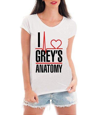 b095e733c125d Camiseta Feminina Blusa I Love Grey s Anatomy Frases Séries Seriado - Frases  Engraçadas Personalizadas  Customizadas