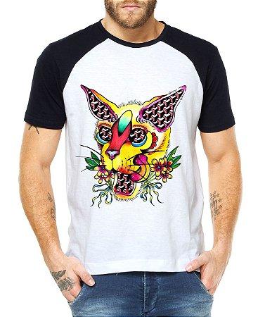 Camiseta Masculina Raglan Gato Psicodélico - Personalizadas/ Customizadas/ Estampadas/ Camiseteria/ Estamparia/ Estampar/ Personalizar/ Customizar/ Criar/ Camisa Blusas Baratas Modelos Legais Loja Online