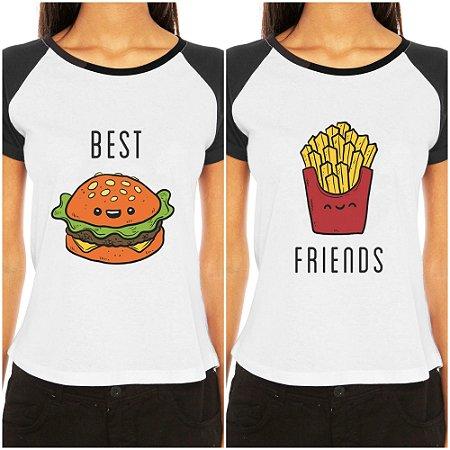 Camiseta Feminina Raglan Best Friends Blusa Tshirt Engraçadas Melhores Amigas