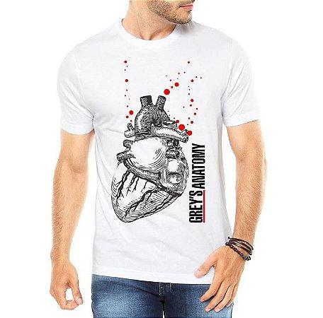 Camiseta Masculina Grey's Anatomy Coração Realista Seriado - Personalizadas/ Customizadas/ Estampadas/ Camiseteria/ Estamparia/ Estampar/ Personalizar/ Customizar/ Criar/ Camisa Blusas Baratas Modelos Legais Loja Online