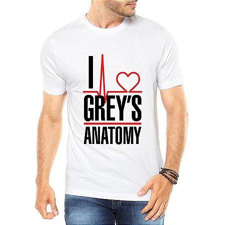 Camiseta Masculina  I Love Grey's Anatomy Frases - Personalizadas/ Customizadas/ Estampadas/ Camiseteria/ Estamparia/ Estampar/ Personalizar/ Customizar/ Criar/ Camisa Blusas Baratas Modelos Legais Loja Online