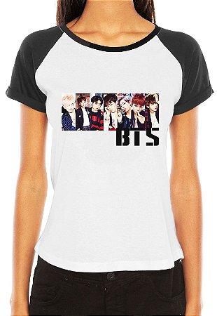 Camiseta Feminina Raglan BTS Bangtan Boys Integrantes - Personalizadas/ Customizadas/ Estampadas/ Camiseteria/ Estamparia/ Estampar/ Personalizar/ Customizar/ Criar/ Camisa Blusas Baratas Modelos Legais Loja Online