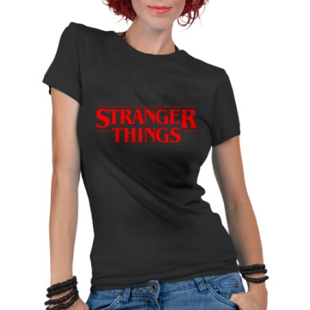 Camiseta Feminina Stranger Things Seriado - Personalizadas/ Customizadas/ Estampadas/ Camiseteria/ Estamparia/ Estampar/ Personalizar/ Customizar/ Criar/ Camisa Blusas Baratas Modelos Legais Loja Online