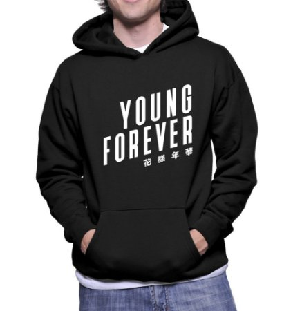 Moletom Masculino BTS Bangtan Boys Kpop Young Forever - Moletons Personalizados Blusa/ Casacos Baratos/ Blusão/ Jaqueta Canguru/ Blusa de Frio
