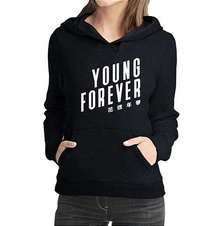 Moletom Feminino BTS Bangtan Boys Kpop Young Forever - Moletons Personalizados Blusa/ Casacos Baratos/ Blusão/ Jaqueta Canguru