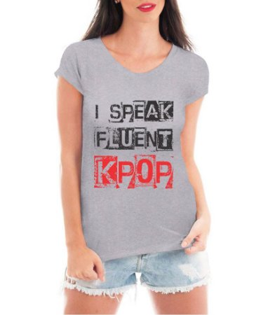 Camiseta Feminina Kpop T shirt Blusa K-pop Speak Bandas - Estampadas Camisa Blusas Baratas Modelos Legais Loja Online
