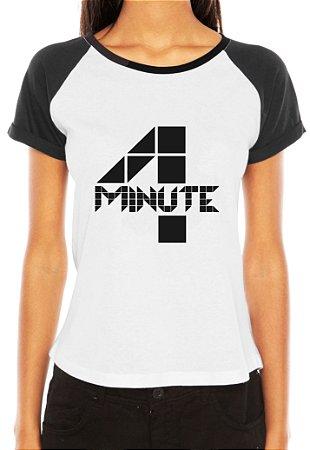 Camiseta Feminina Kpop Banda 4 Four Minute T shirt Blusa K-pop Raglan - Estampadas Camisa Blusas Baratas Modelos Legais Loja Online