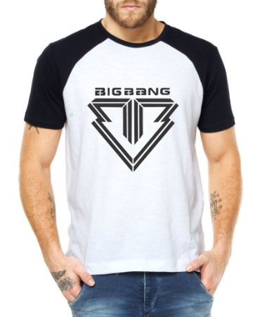 Camiseta Masculina Kpop Banda Big Bang Blusa Raglan - Estampadas Camisa Blusas Baratas Modelos Legais Loja Online