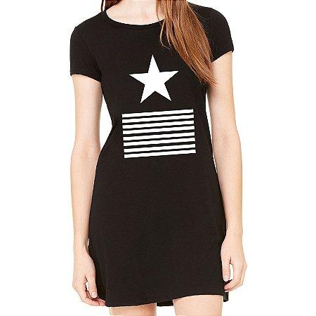 Vestido Curto da Moda Feminino Elementos Estrela - Simples para o Dia a Dia Básico de Malha Estampado Modelos Lindos e Baratos em Preto e Cinza Verão Comprar Loja Online Site Promoção Vestidos Casuais