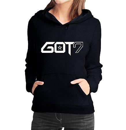 Moletom Feminino Kpop Banda GOT7 K-pop - Moletons Blusa de Frio Casacos Baratos Blusão Canguru Loja Online