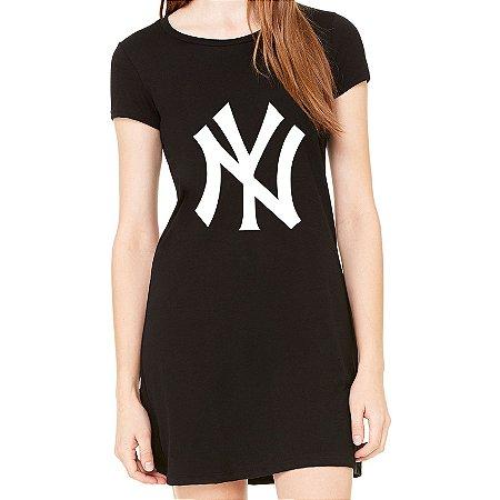 Vestido Curto da Moda Feminino Yankees - Simples para o Dia a Dia Básico de Malha Estampado Modelos Lindos e Baratos em Preto e Cinza Verão Comprar Loja Online Site Promoção Vestidos Casuais