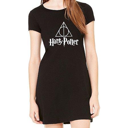 Vestido Curto da Moda Feminino Reliquias da Morte Harry Potter - Simples para o Dia a Dia Básico de Malha Estampado Modelos Lindos e Baratos em Preto e Cinza Verão Comprar Loja Online Site Promoção Vestidos Casuais