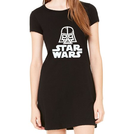 Vestido Curto da Moda Feminino Star Wars - Simples para o Dia a Dia Básico de Malha Estampado Modelos Lindos e Baratos em Preto e Cinza Verão Comprar Loja Online Site Promoção Vestidos Casuais