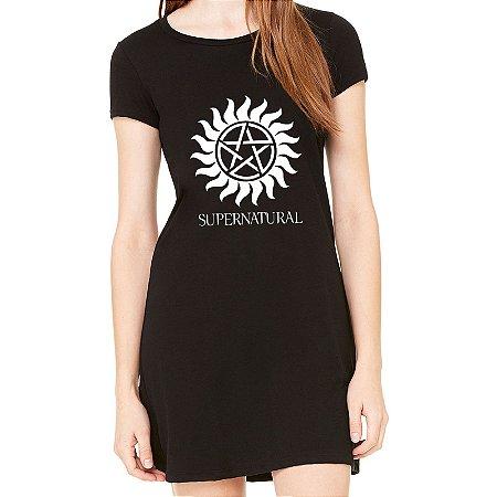 Vestido Curto da Moda Feminino Supernatural - Simples para o Dia a Dia Básico de Malha Estampado Modelos Lindos e Baratos em Preto e Cinza Verão Comprar Loja Online Site Promoção Vestidos Casuais