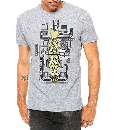 Camiseta Masculina África e Tecnologia Cinza - Personalizadas/ Customizadas/ Estampadas/ Camiseteria/ Estamparia/ Estampar/ Personalizar/ Customizar/ Criar/ Camisa Blusas Baratas Modelos Legais Loja Online