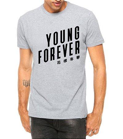 Camiseta Masculina BTS Bangtan Boys Kpop Young Forever Cinza - Personalizadas/ Customizadas/ Estampadas/ Camiseteria/ Estamparia/ Estampar/ Personalizar/ Customizar/ Criar/ Camisa Blusas Baratas Modelos Legais Loja Online