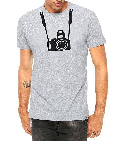 Camiseta Masculina Câmera Fotografica Cinza - Personalizadas/ Customizadas/ Estampadas/ Camiseteria/ Estamparia/ Estampar/ Personalizar/ Customizar/ Criar/ Camisa Blusas Baratas Modelos Legais Loja Online