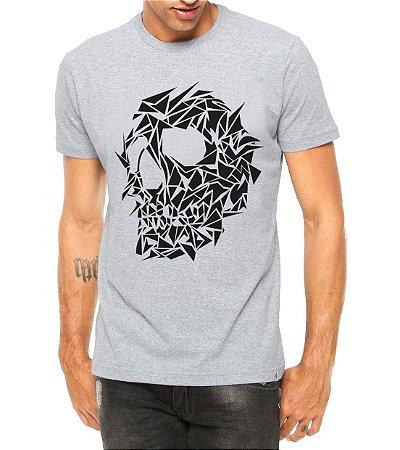 Camiseta Masculina Caveira Assimétrica Cinza - Personalizadas/ Customizadas/ Estampadas/ Camiseteria/ Estamparia/ Estampar/ Personalizar/ Customizar/ Criar/ Camisa Blusas Baratas Modelos Legais Loja Online