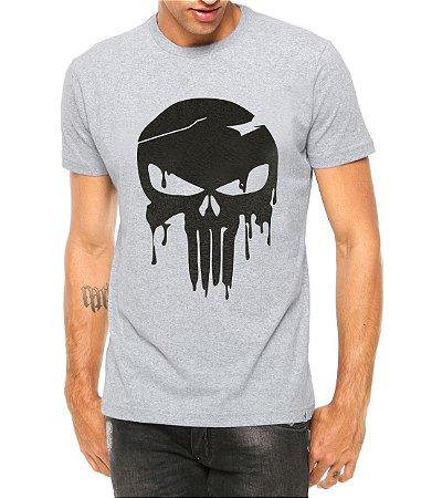Camiseta Masculina Caveira Destroy Cinza - Personalizadas/ Customizadas/ Estampadas/ Camiseteria/ Estamparia/ Estampar/ Personalizar/ Customizar/ Criar/ Camisa Blusas Baratas Modelos Legais Loja Online