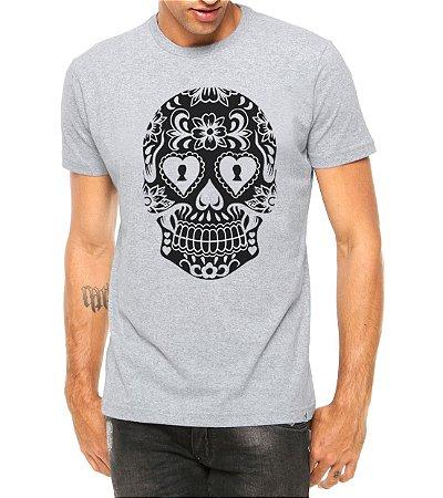 Camiseta Masculina Caveira Mexicana Cartas Cinza - Personalizadas/ Customizadas/ Estampadas/ Camiseteria/ Estamparia/ Estampar/ Personalizar/ Customizar/ Criar/ Camisa Blusas Baratas Modelos Legais Loja Online