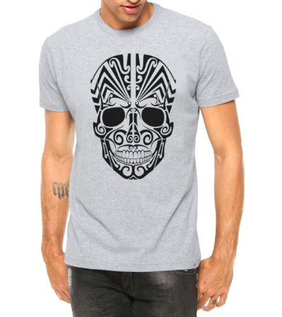 Camiseta Masculina Caveira Mexicana Tribal Cinza - Personalizadas/ Customizadas/ Estampadas/ Camiseteria/ Estamparia/ Estampar/ Personalizar/ Customizar/ Criar/ Camisa Blusas Baratas Modelos Legais Loja Online
