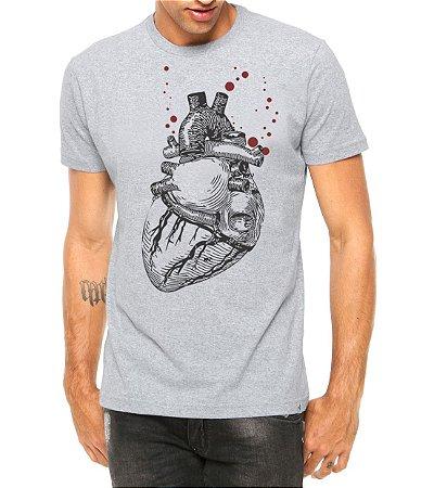 Camiseta Masculina Coração Realista Cinza - Personalizadas/ Customizadas/ Estampadas/ Camiseteria/ Estamparia/ Estampar/ Personalizar/ Customizar/ Criar/ Camisa Blusas Baratas Modelos Legais Loja Online