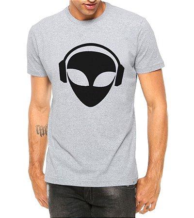 Camiseta Masculina Et Alien Dj Cinza - Personalizadas/ Customizadas/ Estampadas/ Camiseteria/ Estamparia/ Estampar/ Personalizar/ Customizar/ Criar/ Camisa Blusas Baratas Modelos Legais Loja Online