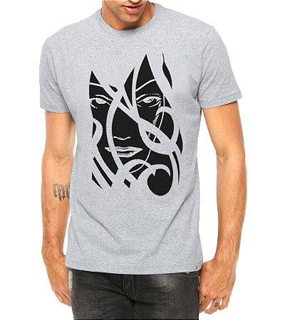 Camiseta Masculina Face da Mulher Tribal Cinza - Personalizadas/ Customizadas/ Estampadas/ Camiseteria/ Estamparia/ Estampar/ Personalizar/ Customizar/ Criar/ Camisa Blusas Baratas Modelos Legais Loja Online