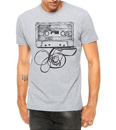 Camiseta Masculina Fita Cassete Cinza - Personalizadas/ Customizadas/ Estampadas/ Camiseteria/ Estamparia/ Estampar/ Personalizar/ Customizar/ Criar/ Camisa Blusas Baratas Modelos Legais Loja Online