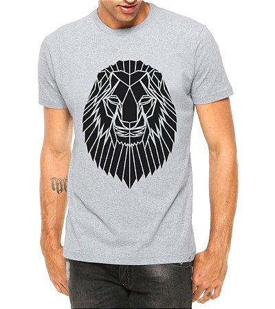 Camiseta Masculina Leão Tatoo Tribal Cinza - Personalizadas/ Customizadas/ Estampadas/ Camiseteria/ Estamparia/ Estampar/ Personalizar/ Customizar/ Criar/ Camisa Blusas Baratas Modelos Legais Loja Online