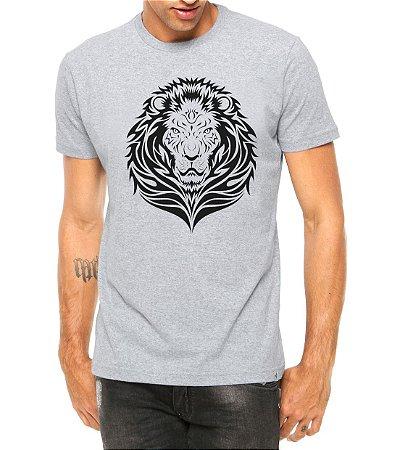 Camiseta Masculina Leão Tribal Cinza - Personalizadas/ Customizadas/ Estampadas/ Camiseteria/ Estamparia/ Estampar/ Personalizar/ Customizar/ Criar/ Camisa Blusas Baratas Modelos Legais Loja Online