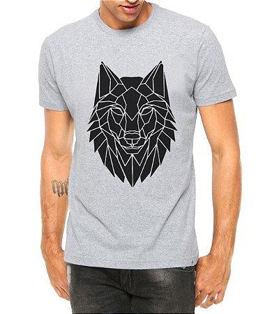 Camiseta Masculina Lobo Tribal Tattoo Cinza - Personalizadas/ Customizadas/ Estampadas/ Camiseteria/ Estamparia/ Estampar/ Personalizar/ Customizar/ Criar/ Camisa Blusas Baratas Modelos Legais Loja Online