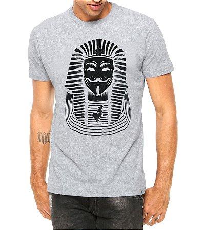 Camiseta Masculina Anonymus Faraó  Cinza - Personalizadas/ Customizadas/ Estampadas/ Camiseteria/ Estamparia/ Estampar/ Personalizar/ Customizar/ Criar/ Camisa Blusas Baratas Modelos Legais Loja Online