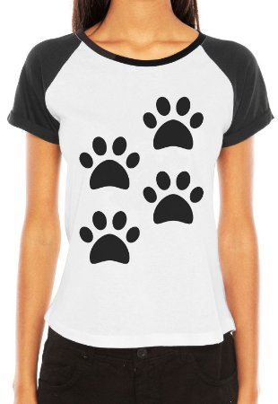 Camiseta Feminina 4 Patas Dog Cachorro Raglan - Personalizadas/ Customizadas/ Estampadas/ Camiseteria/ Estamparia/ Estampar/ Personalizar/ Customizar/ Criar/ Camisa Blusas Baratas Modelos Legais Loja Online
