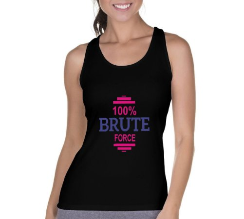 Camiseta Regata Feminina Academia Musculação 100% Brute Force - Personalizadas/ Customizadas/ Camiseteria/ Camisa T-shirts Baratas Modelos Legais Loja Online