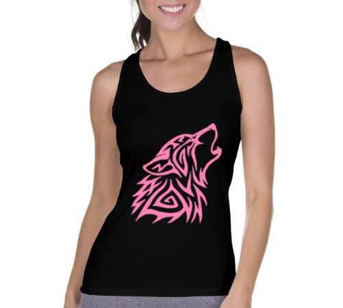Camiseta Regata Feminina Lobo Uivando Rosa Preta - Personalizadas/ Customizadas/ Camiseteria/ Camisa T-shirts Baratas Modelos Legais Loja Online
