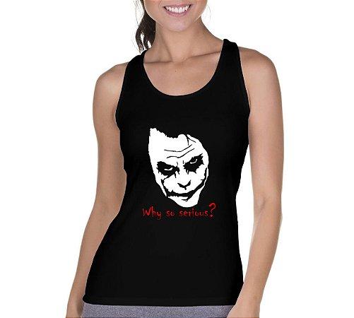 Camiseta Regata Feminina Serious Coringa Preta - Personalizadas/ Customizadas/ Camiseteria/ Camisa T-shirts Baratas Modelos Legais Loja Online