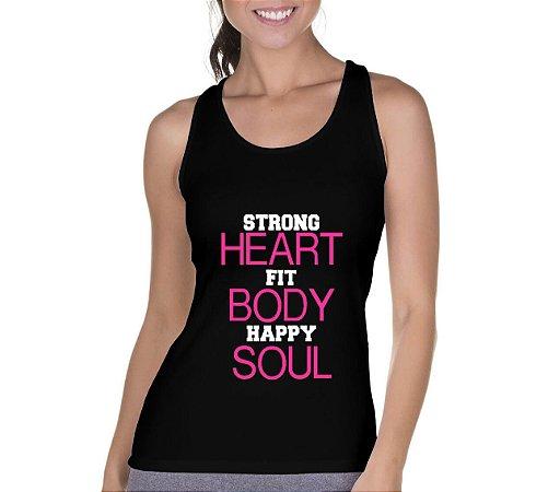 Camiseta Regata Feminina Strong Heart Preta - Personalizadas/ Customizadas/ Camiseteria/ Camisa T-shirts Baratas Modelos Legais Loja Online