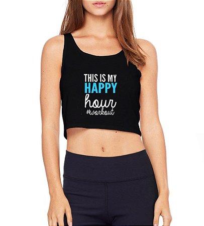 Top Cropped Fitness My Happy Hour Preto Cavado  - Modelos Femininos Comprar Online Camiseta Regata Roupa da Moda