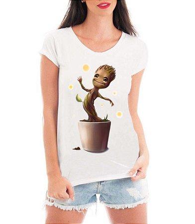 Camiseta Branca Feminina Baby Groot Filme - Personalizadas/ Customizadas/ Estampadas/ Camiseteria/ Estamparia/ Estampar/ Personalizar/ Customizar/ Criar/ Camisa Blusas Baratas Modelos Legais Loja Online