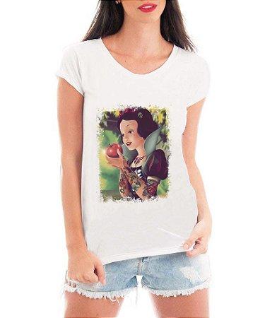 Camiseta Blusa Bata Feminina Branca De Neve Tatuada - Seriado Série/ Customizadas/ Estampadas/ Camiseteria/ Estamparia/ Estampar/ Personalizar/ Customizar/ Criar/ Camisa Blusas