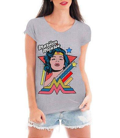 Camiseta Feminina Blusa Cinza Marilyn Monroe Mulher Maravilha - Customizadas/ Estampadas/ Camiseteria/ Estamparia/ Estampar/ Personalizar/ Customizar/ Criar/ Camisa Blusas