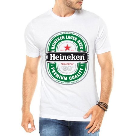 Camiseta Masculina Heineken Cerveja Bebida Premium Branca - Personalizadas/ Customizadas/ Estampadas/ Camiseteria/ Estamparia/ Estampar/ Personalizar/ Customizar/ Criar/ Camisa Blusas Baratas Modelos Legais Loja Online