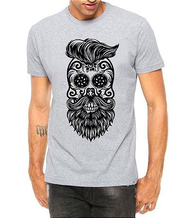 Camiseta Masculina Estilo Barbearia Caveira Barba Cinza - Personalizadas/ Customizadas/ Estampadas/ Camiseteria/ Estamparia/ Estampar/ Personalizar/ Customizar/ Criar/ Camisa Blusas Baratas Modelos Legais Loja Online