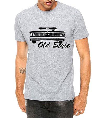 Camiseta Masculina Old Style Opala Carro Antigo Clássico Cinza - Personalizadas/ Customizadas/ Estampadas/ Camiseteria/ Estamparia/ Estampar/ Personalizar/ Customizar/ Criar/ Camisa Blusas Baratas Modelos Legais Loja Online