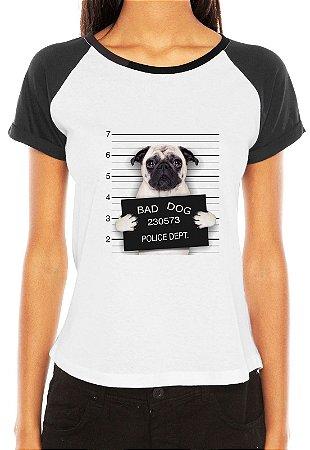 Camiseta Feminina Pug Dog Cachorro Preso Engraçadas Divertidas Raglan - Personalizadas/ Customizadas/ Estampadas/ Camiseteria/ Estamparia/ Estampar/ Personalizar/ Customizar/ Criar/ Camisa Blusas Baratas Modelos Legais Loja Online