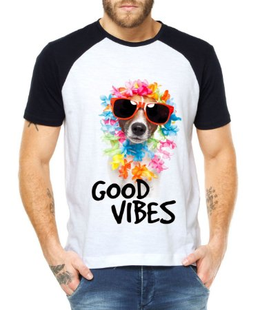 Camiseta Raglan Good Vibes Cachorro Dog Hawai Divertida Engraçada - Personalizadas/ Customizadas/ Estampadas/ Camiseteria/ Estamparia/ Estampar/ Personalizar/ Customizar/ Criar/ Camisa Blusas Baratas Modelos Legais Loja Online